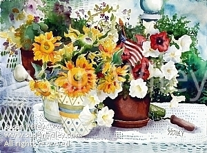 "Fourth of July Celebration by Susan Wiley Watercolor ~ 22"" x 30"""