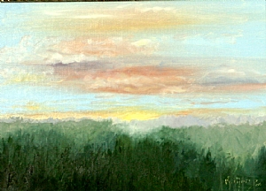 Sunset by Kay Morris Oil ~ 8 1/2 x 11 1/2