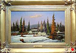 Winter Camp SOLD - thru gallery by Bill Mittag Oil ~ 12 x 18