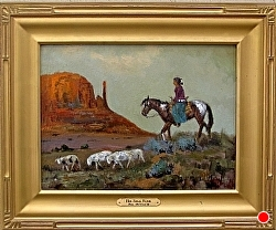 Her Small Flock  - SOLD by Bill Mittag Oil ~ 12 x 16