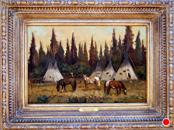 Ponies of Lakota  oil on linen by Bill Mittag Oil ~ 12 x 18