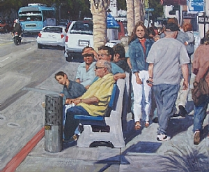 santa monica bus stop by Scott W. Prior Oil ~ 24 x 30