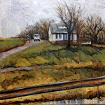 "Bleak Midwinter - Iowa Home by Sue Martin Acrylic ~ 16"" x 16"""