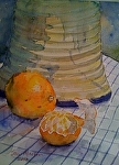 "Fruit With Ceramic Vase by Sue Martin Watercolor ~ 12"" x 9"""