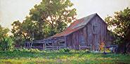 "Sauer-Beckmann Barn by Sara Winters Oil ~ 15"" x 30"""