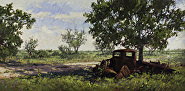 """Rusted by Sara Winters Oil ~ 15 x 30"""""""