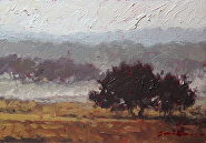 January Fog by Sara Winters Oil ~ 5 x 7