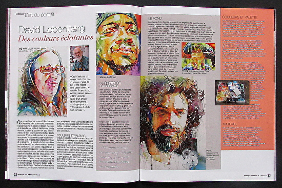 "Magazine spread in January 2014 issue of ""Pratique des Art"" -"