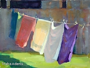 "Wash Line by Trisha Adams Oil ~ 9"" x 12"""