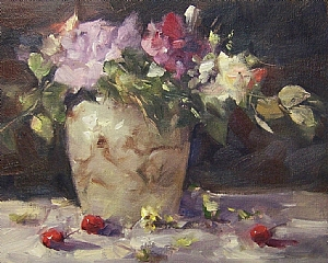 """Cherries and Company"" by Mike Beeman Oil ~ 8"" x 10"""