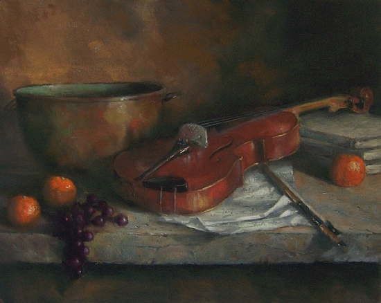 """Copper Bowl and Fiddle by Mike Beeman Pastel ~ 16"""" x 20"""""""