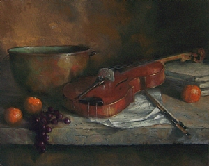 "Copper Bowl and Fiddle by Mike Beeman Pastel ~ 16"" x 20"""