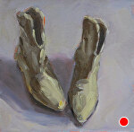 "My Favorite Boots by Julie Kirkland Oil ~ 6 "" x 6"""