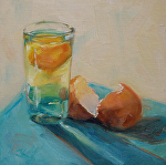 Bottoms Up! by Julie Kirkland Oil ~ 6 in. x 6 in.