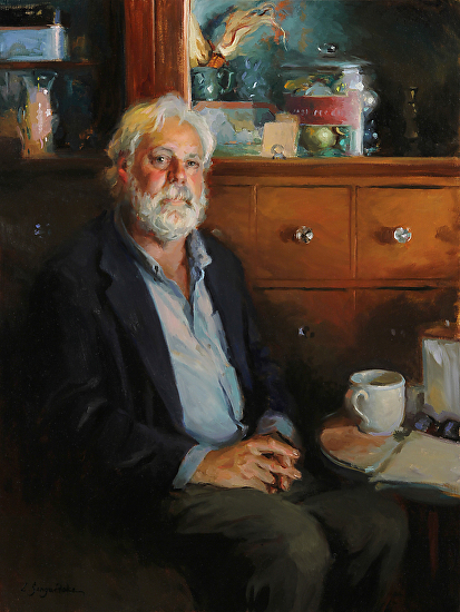 Bruce at the Coffeehouse - Oil