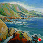 "Rocky Point View by Cyndra Bradford Paintings Oil ~ 60"" x 60"""