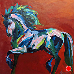 "Horse of many Colors by Cyndra Bradford Paintings  ~ 36"" x 36"""