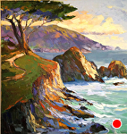 "Lone Cypress Big Sur by Cyndra Bradford Paintings Oil ~ 60"" x 60"""