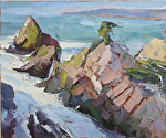 "Point Lobos Rocks by Cyndra Bradford Paintings Oil ~ 30"" x 36"""