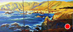 "Big Sur Golden Seas by Cyndra Bradford Paintings Oil ~ 48"" x 108"""