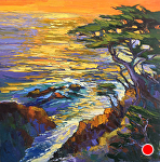 "Sunset Cypress by Cyndra Bradford Paintings Oil ~ 60"" x 60"""