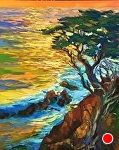 "Sunset Cypress by Cyndra Bradford Paintings Oil ~ 60"" x 48"""