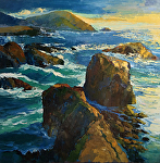 "Rocky Coast by Cyndra Bradford Paintings Oil ~ 60"" x 60"""