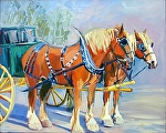 Green Wagon by Cyndra Bradford Paintings Oil ~ 48 x 60