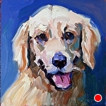 """Good Boy"" by Cyndra Bradford Paintings Oil ~ 12"" x 12"""