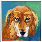 "Lion Dog by Cyndra Bradford Paintings Oil ~ 12"" x 12"""