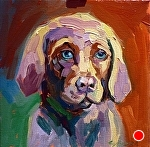 "Lab Pup by Cyndra Bradford Paintings Oil ~ 12"" x 12"""