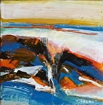 Rocks & Sea by Cyndra Bradford Paintings Encaustic ~ 12 x