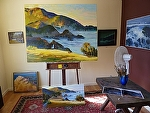 Plein Air study with large studio painting by Cyndra Bradford Paintings  ~  x