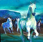 "Night Herd by Cyndra Bradford Paintings Oil ~ 48"" x 48"""