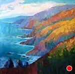 """Coastal Sunset"" by Cyndra Bradford Paintings Oil ~ 48"" x 48"""