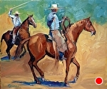 """Working Cowboys"" by Cyndra Bradford Paintings Oil ~ 30"" x 36"""