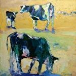 """CB Three Cows by Cyndra Bradford Paintings Oil ~ 40"""" x 40"""""""