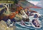 "Granite Bridge by Cyndra Bradford Paintings Oil ~ 12"" x 16"""