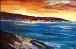 "Monterey Bay Sunset by Cyndra Bradford Paintings Oil ~ 48"" x 72"""