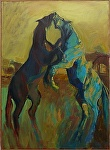 """Over the Herd by Cyndra Bradford Paintings Oil ~ 48"""" x 36"""""""