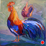 "Rooster by Cyndra Bradford Paintings Oil ~ 18"" x 18"""