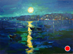 "Harvest Moon by Cyndra Bradford Paintings Oil ~ 36"" x 48"""