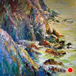 "Fragmented Coast by Cyndra Bradford Paintings Oil ~ 60"" x 60"""