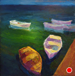 "BOATS AT REST by Jeff Daniel Smith Oil ~ 36"" x 36"""