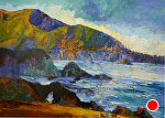 "Rocky Point Morning by Cyndra Bradford Paintings Oil ~ 54"" x 72"""