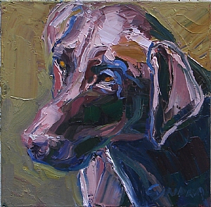 """Looking for the Ball by Cyndra Bradford Paintings Oil ~ 12"""" x 12"""""""