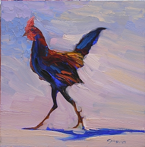"Tall Rooster by Cyndra Bradford Paintings Oil ~ 24"" x 24"""