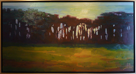 "Tree Line Big Sur by Jeff Daniel Smith Oil ~ 30"" x 60"""