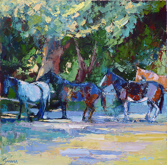 "In the Shade by Cyndra Bradford Paintings Oil ~ 36"" x 36"""