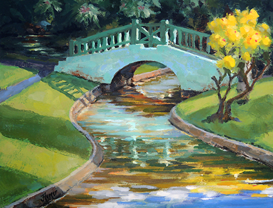 Iao Bridge - Oil on Canvas on Wood Panel